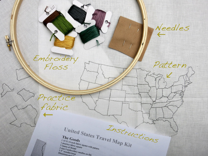 DIY travel map embroidery kit