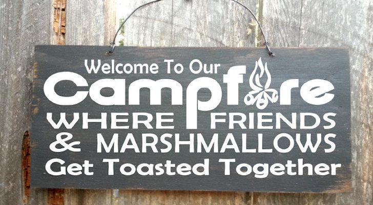 Funny Camping Sign: Get Toasted Together