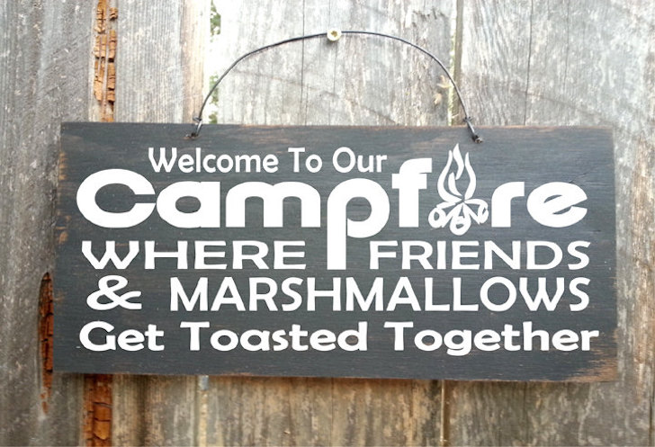 Get toasted together funny camping sign
